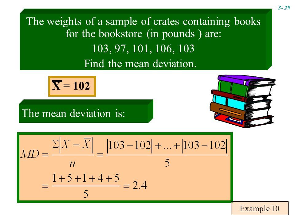 The weights of a sample of crates containing books for the bookstore (in pounds ) are: 103, 97, 101, 106, 103 Find the mean deviation.