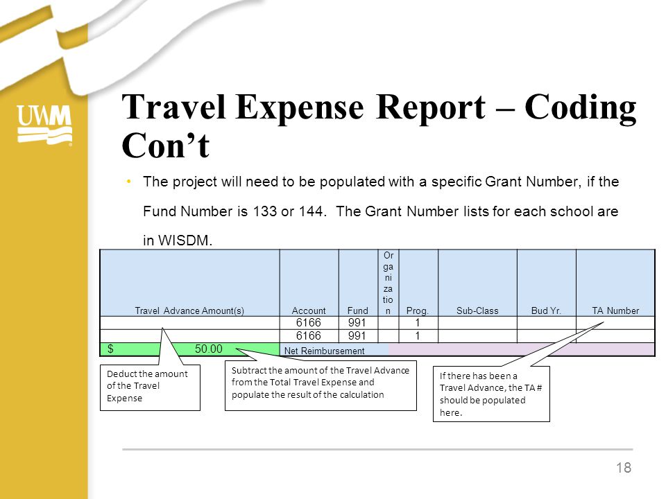 Travel Expense Report – Coding Con't The project will need to be populated with a specific Grant Number, if the Fund Number is 133 or 144.