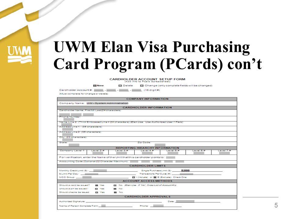 UWM Elan Visa Purchasing Card Program (PCards) con't 5