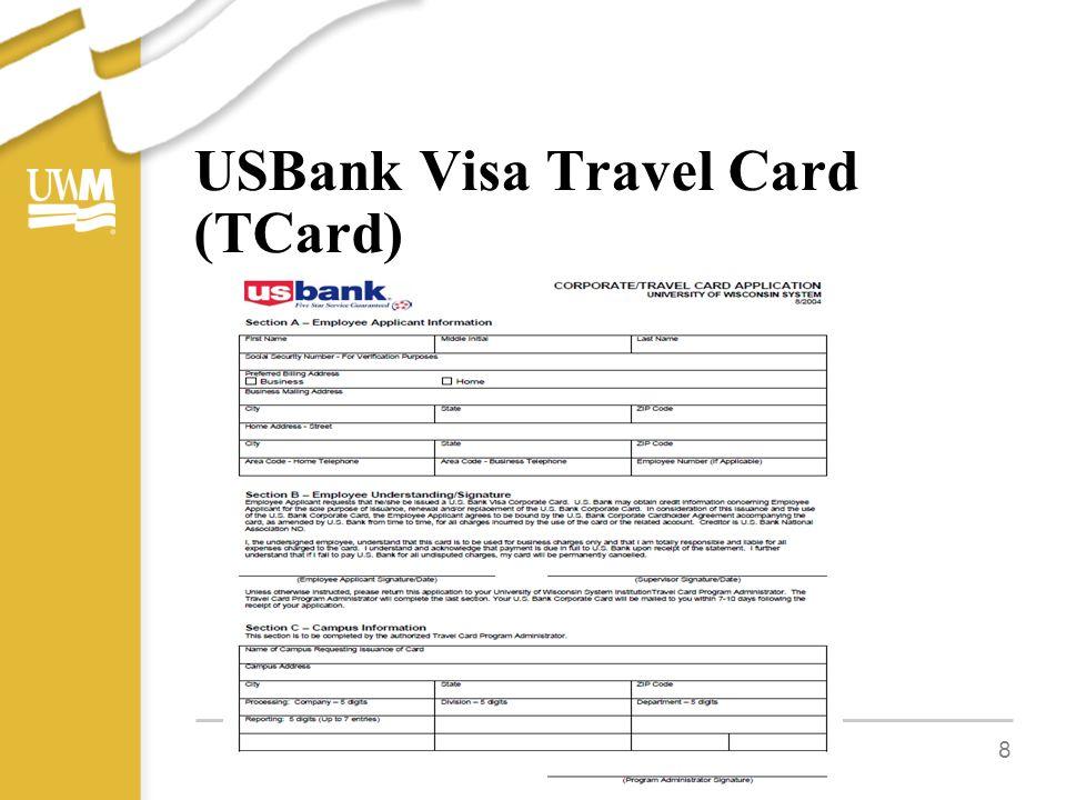 USBank Visa Travel Card (TCard) 8