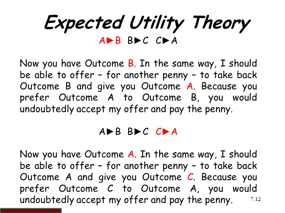 7.1212 Expected Utility Theory A►BB►CC►AA►BB►CC►A Now you have Outcome B.