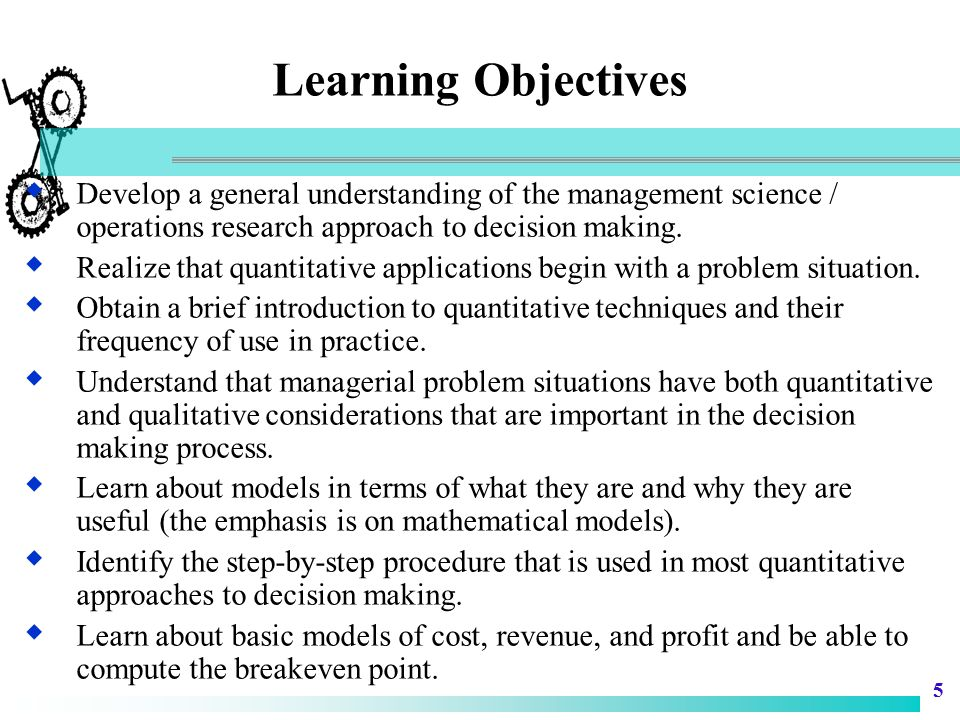 6 Introduction to Operations Research  Operations Research/Management Science – Winston: a scientific approach to decision making, which seeks to determine how best to design and operate a system, usually under conditions requiring the allocation of scarce resources. – Kimball & Morse: a scientific method of providing executive departments with a quantitative basis for decisions regarding the operations under their control.
