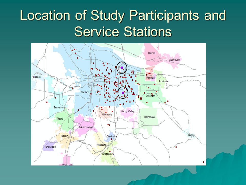 Location of Study Participants and Service Stations