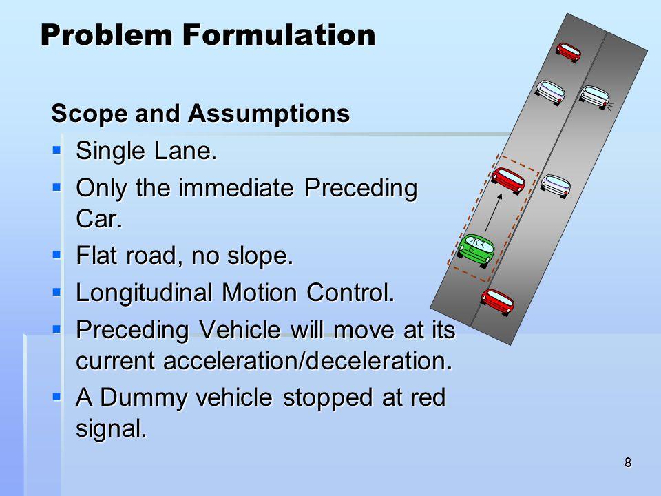 8 Problem Formulation ホス ト Scope and Assumptions  Single Lane.