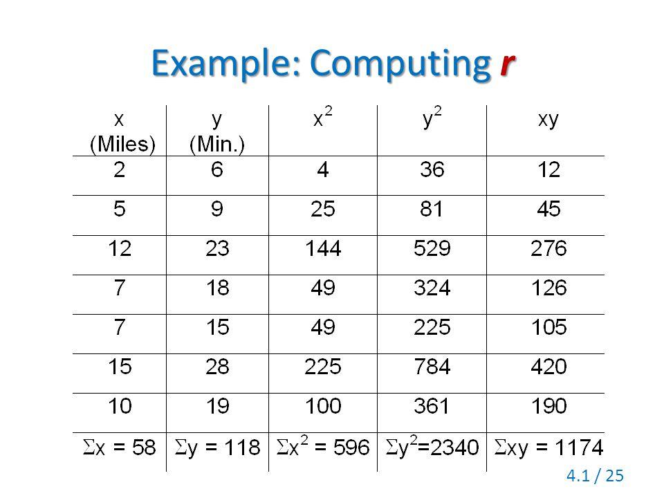 Example: Computingr Example: Computing r 4.1 / 25