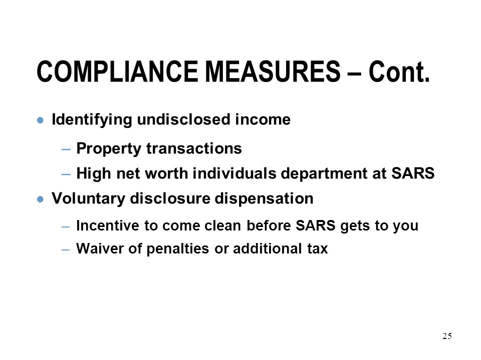 25 COMPLIANCE MEASURES – Cont.