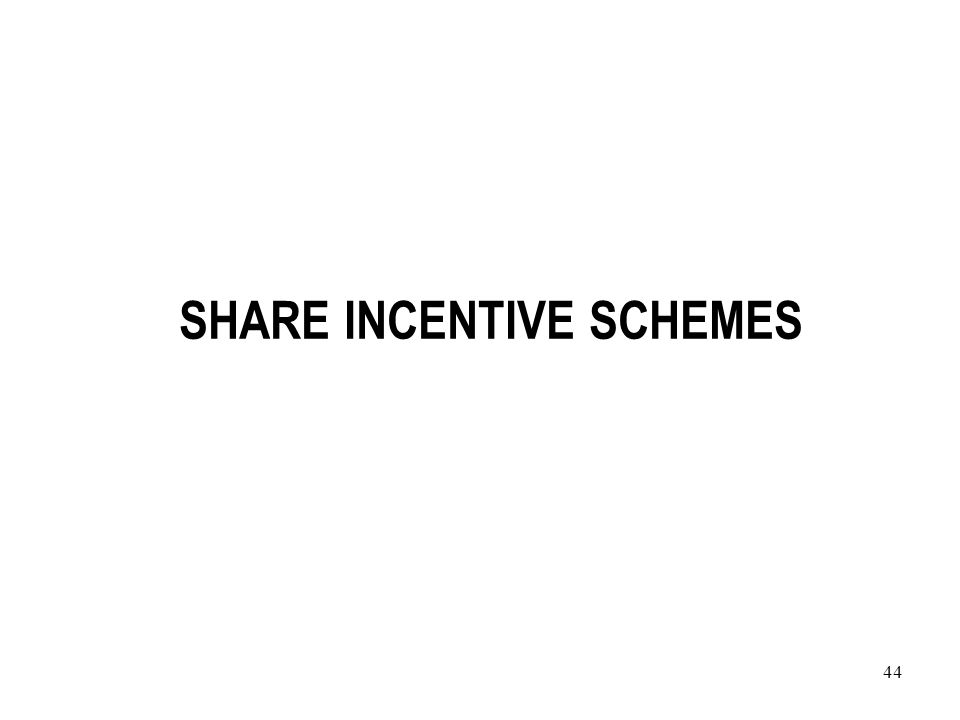 44 SHARE INCENTIVE SCHEMES