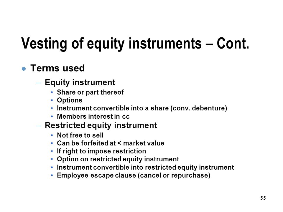 55 Vesting of equity instruments – Cont.