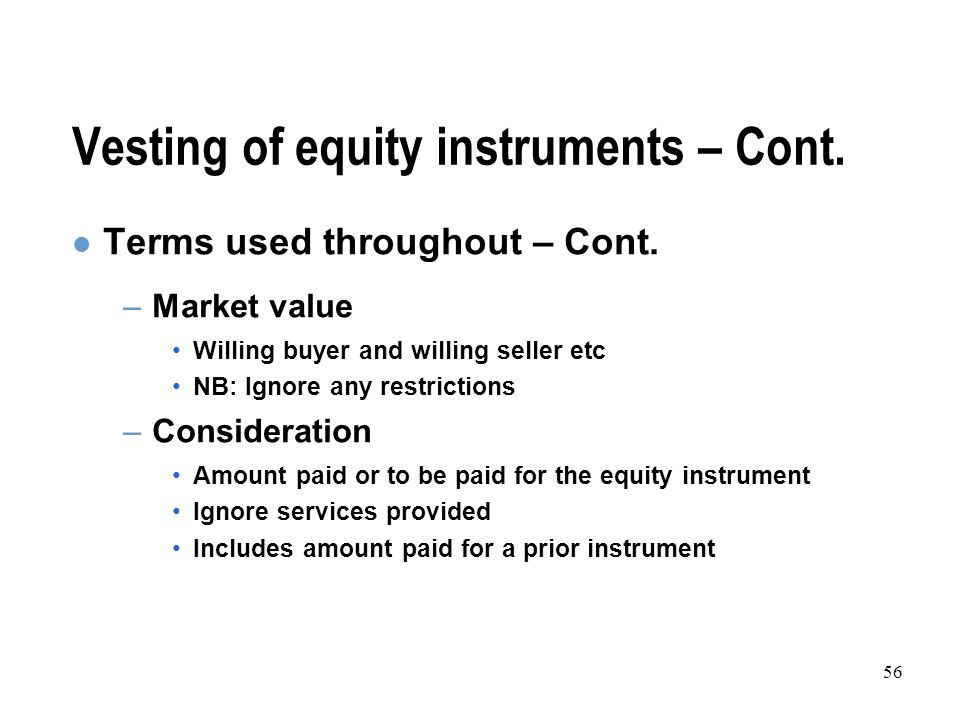 56 Vesting of equity instruments – Cont. Terms used throughout – Cont.