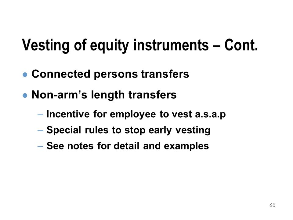 60 Vesting of equity instruments – Cont.