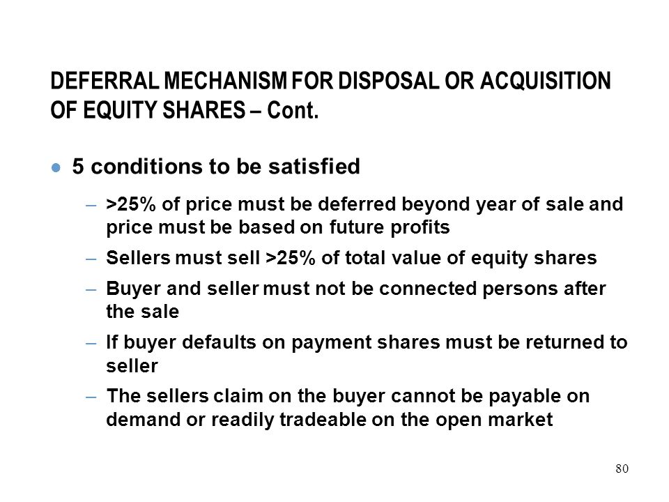 80 DEFERRAL MECHANISM FOR DISPOSAL OR ACQUISITION OF EQUITY SHARES – Cont.