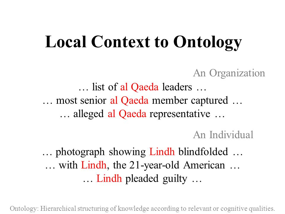 Local Context to Ontology … list of al Qaeda leaders … … most senior al Qaeda member captured … … alleged al Qaeda representative … … photograph showing Lindh blindfolded … … with Lindh, the 21-year-old American … … Lindh pleaded guilty … Ontology: Hierarchical structuring of knowledge according to relevant or cognitive qualities.