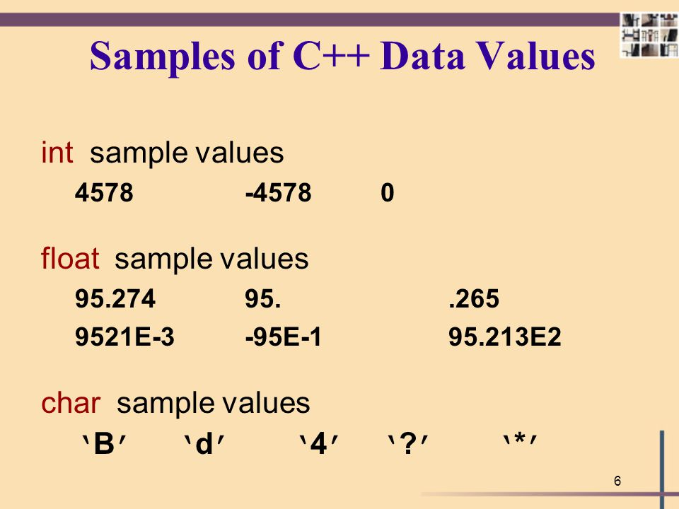 6 Samples of C++ Data Values int sample values 4578 -45780 float sample values 95.27495..265 9521E-3-95E-195.213E2 char sample values ' B ' ' d ' ' 4