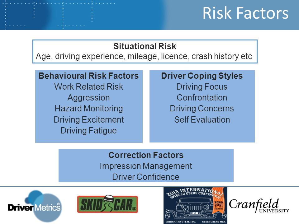 Risk Factors Situational Risk Age, driving experience, mileage, licence, crash history etc Behavioural Risk Factors Work Related Risk Aggression Hazard Monitoring Driving Excitement Driving Fatigue Driver Coping Styles Driving Focus Confrontation Driving Concerns Self Evaluation Correction Factors Impression Management Driver Confidence