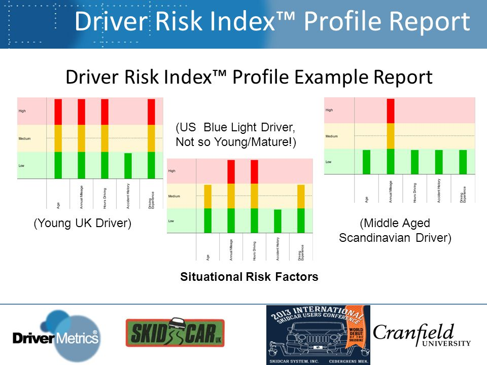 Driver Risk Index™ Profile Example Report Driver Risk Index™ Profile Report (Young UK Driver) (US Blue Light Driver, Not so Young/Mature!) (Middle Aged Scandinavian Driver) Situational Risk Factors