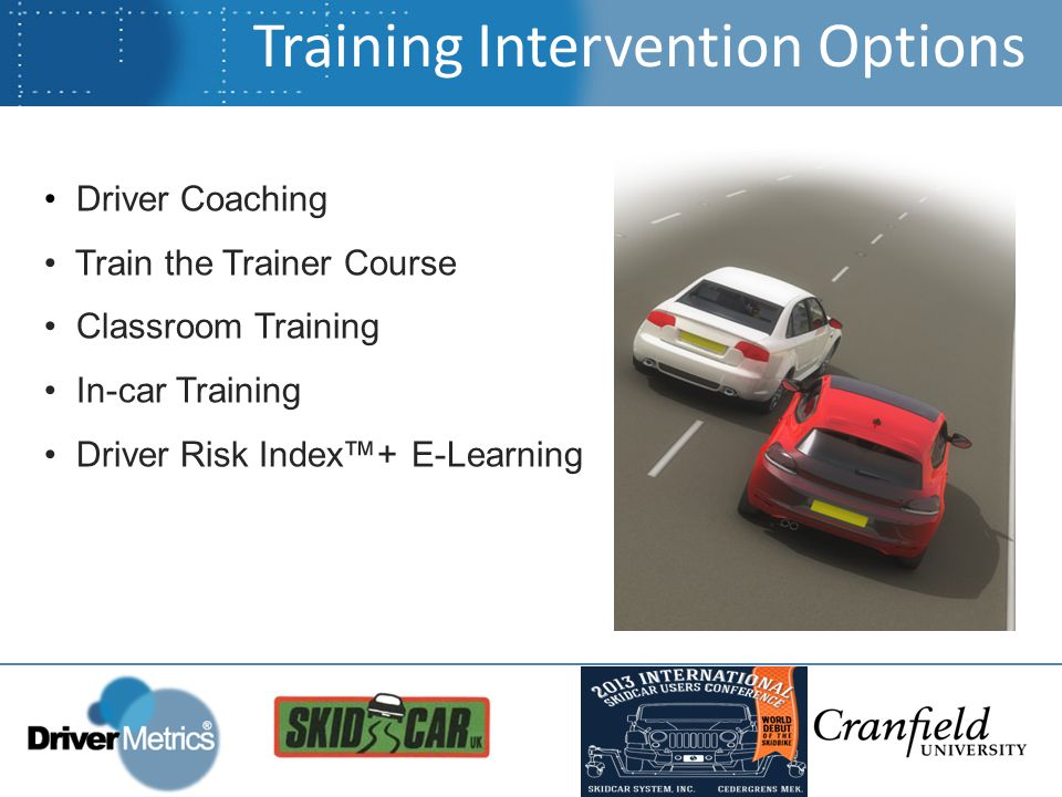 Training Intervention Options Driver Coaching Train the Trainer Course Classroom Training In-car Training Driver Risk Index™+ E-Learning