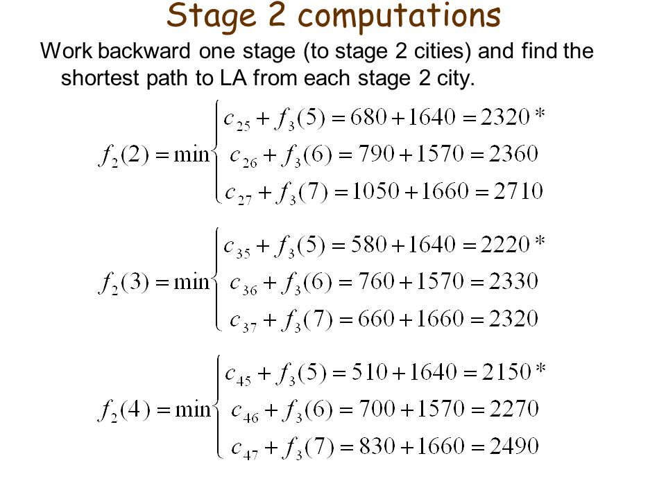 Stage 2 computations Work backward one stage (to stage 2 cities) and find the shortest path to LA from each stage 2 city.