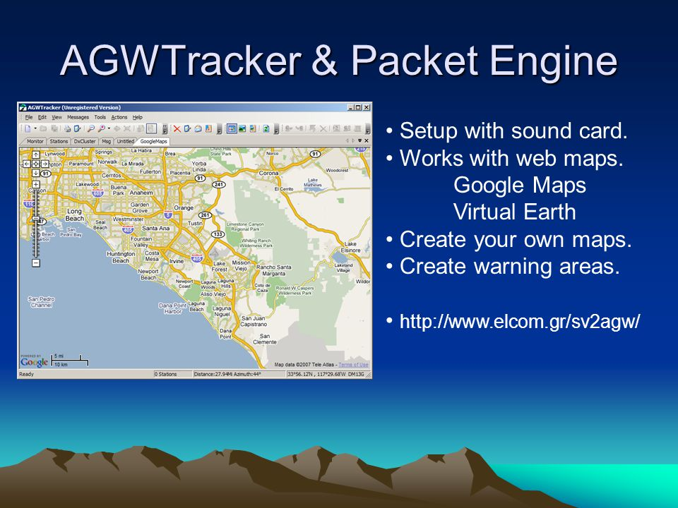 AGWTracker & Packet Engine Setup with sound card. Works with web maps. Google Maps Virtual Earth Create your own maps. Create warning areas. http://ww