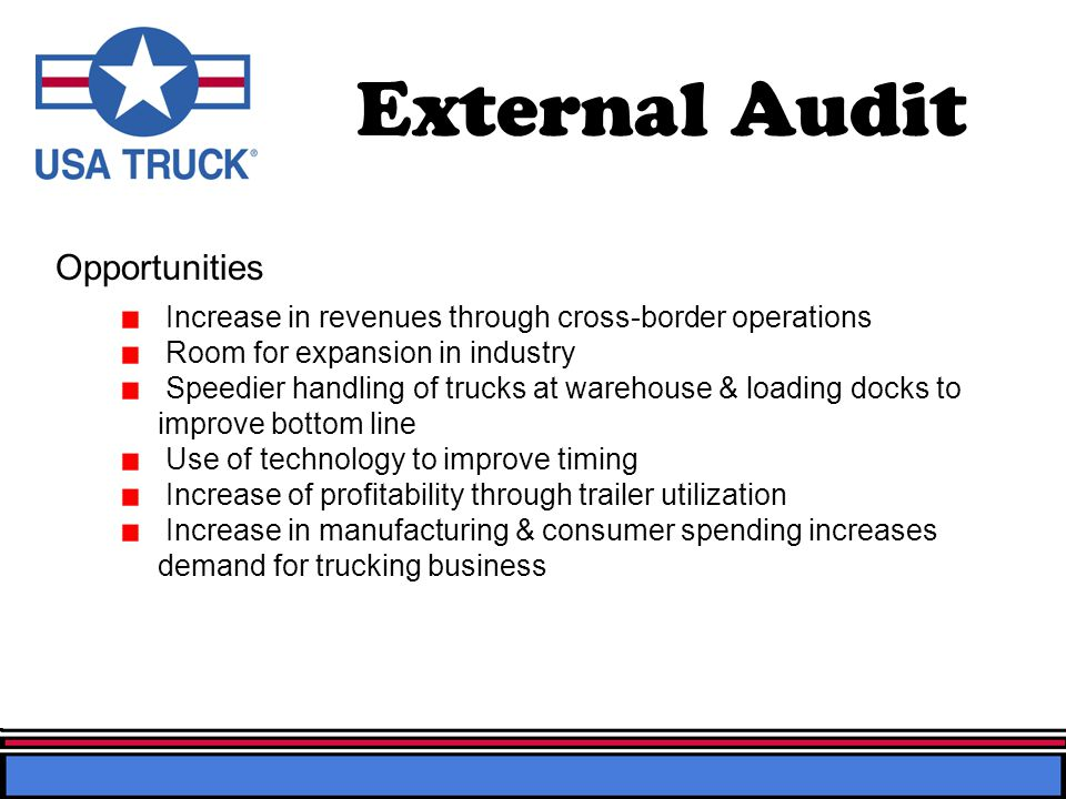 External Audit Opportunities Increase in revenues through cross-border operations Room for expansion in industry Speedier handling of trucks at warehouse & loading docks to improve bottom line Use of technology to improve timing Increase of profitability through trailer utilization Increase in manufacturing & consumer spending increases demand for trucking business