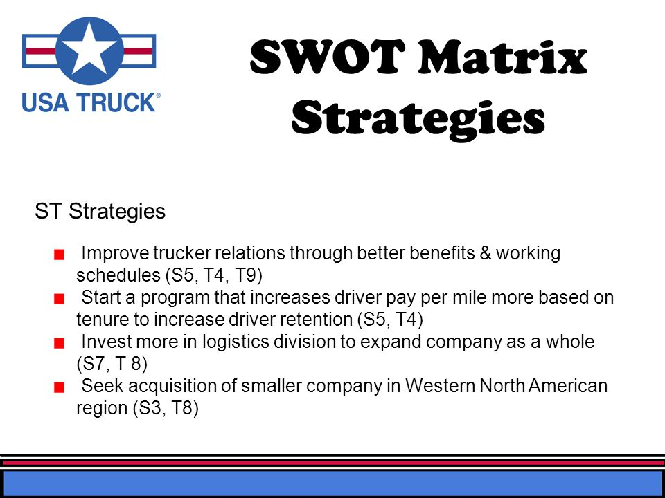 SWOT Matrix Strategies Improve trucker relations through better benefits & working schedules (S5, T4, T9) Start a program that increases driver pay per mile more based on tenure to increase driver retention (S5, T4) Invest more in logistics division to expand company as a whole (S7, T 8) Seek acquisition of smaller company in Western North American region (S3, T8) ST Strategies