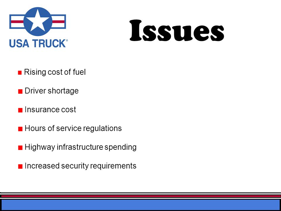 Mission Statement At USA Truck, we focus on customers and markets that demand premium service so that we can achieve premium rates and develop long-term, service-oriented relationships (1).