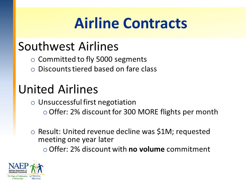 Airline Contracts Southwest Airlines o Committed to fly 5000 segments o Discounts tiered based on fare class United Airlines o Unsuccessful first negotiation o Offer: 2% discount for 300 MORE flights per month o Result: United revenue decline was $1M; requested meeting one year later o Offer: 2% discount with no volume commitment