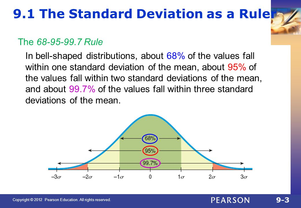 Copyright © 2012 Pearson Education. All rights reserved. 9-3 9.1 The Standard Deviation as a Ruler The 68-95-99.7 Rule In bell-shaped distributions, a