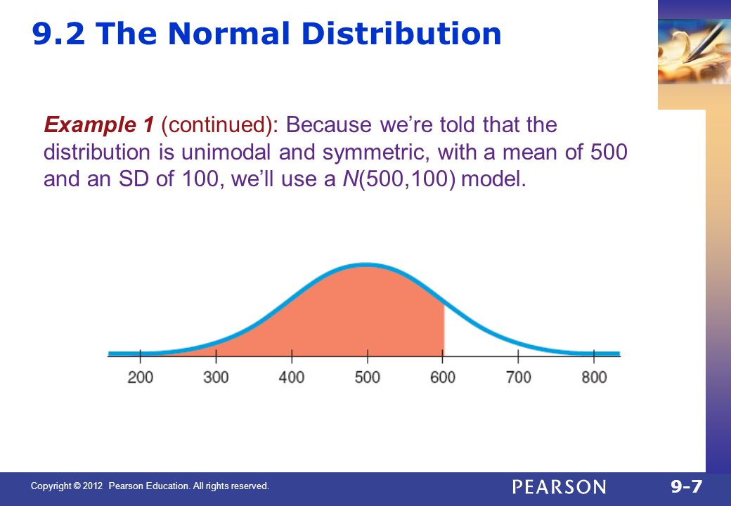 Copyright © 2012 Pearson Education. All rights reserved. 9-7 9.2 The Normal Distribution Example 1 (continued): Because we're told that the distributi