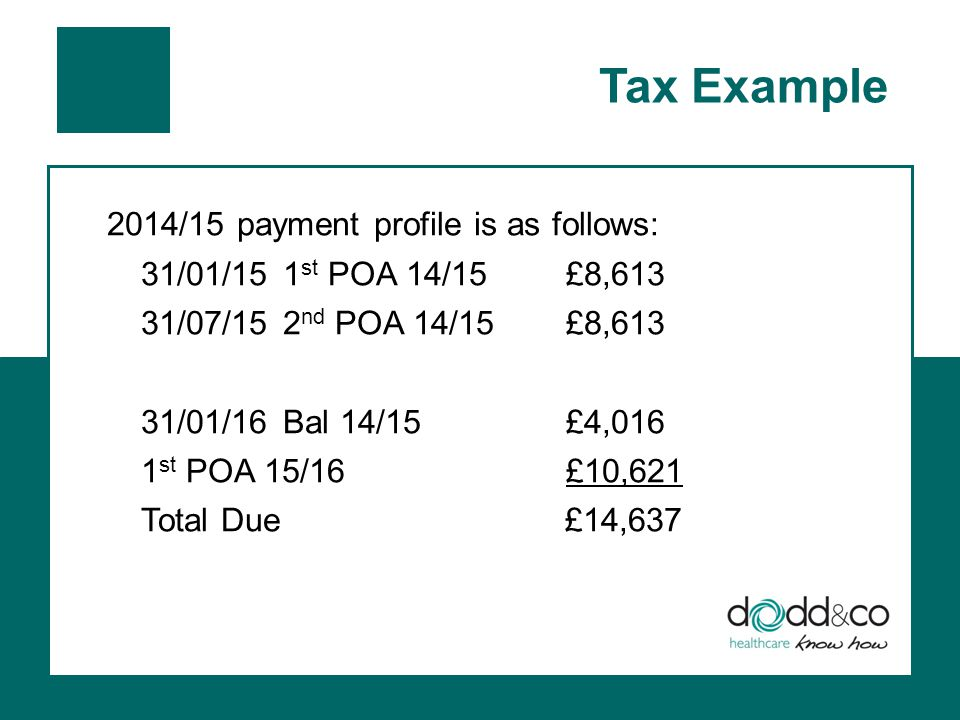Tax Example 2014/15 payment profile is as follows: 31/01/151 st POA 14/15 £8,613 31/07/152 nd POA 14/15£8,613 31/01/16Bal 14/15£4,016 1 st POA 15/16£10,621 Total Due £14,637