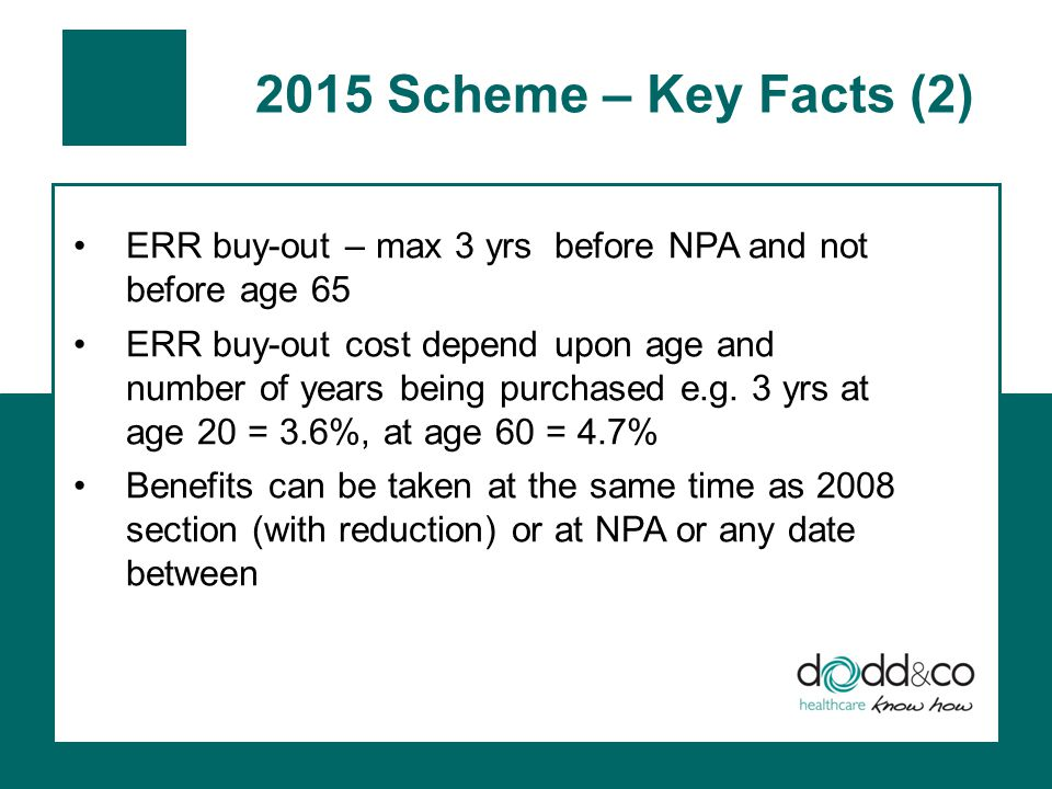2015 Scheme – Key Facts (2) ERR buy-out – max 3 yrs before NPA and not before age 65 ERR buy-out cost depend upon age and number of years being purchased e.g.