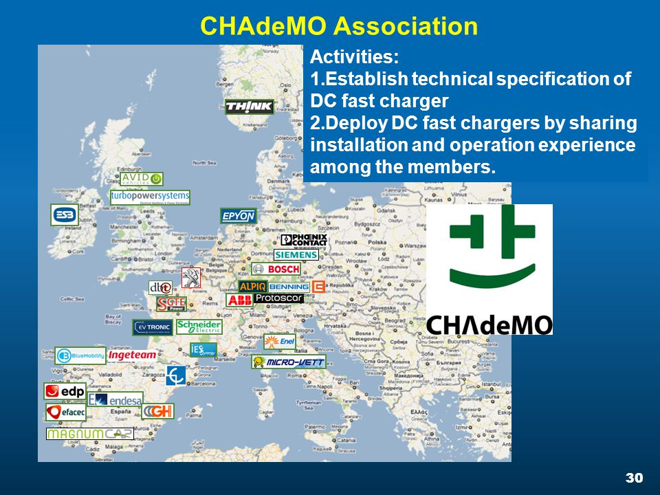 30 CHAdeMO Association Activities: 1.Establish technical specification of DC fast charger 2.Deploy DC fast chargers by sharing installation and operation experience among the members.