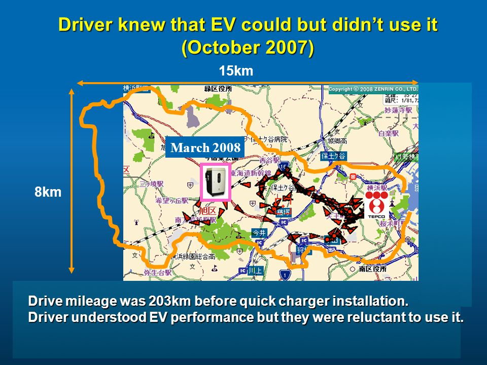 15km March 2008 Driver knew that EV could but didn't use it (October 2007) 8km Drive mileage was 203km before quick charger installation.
