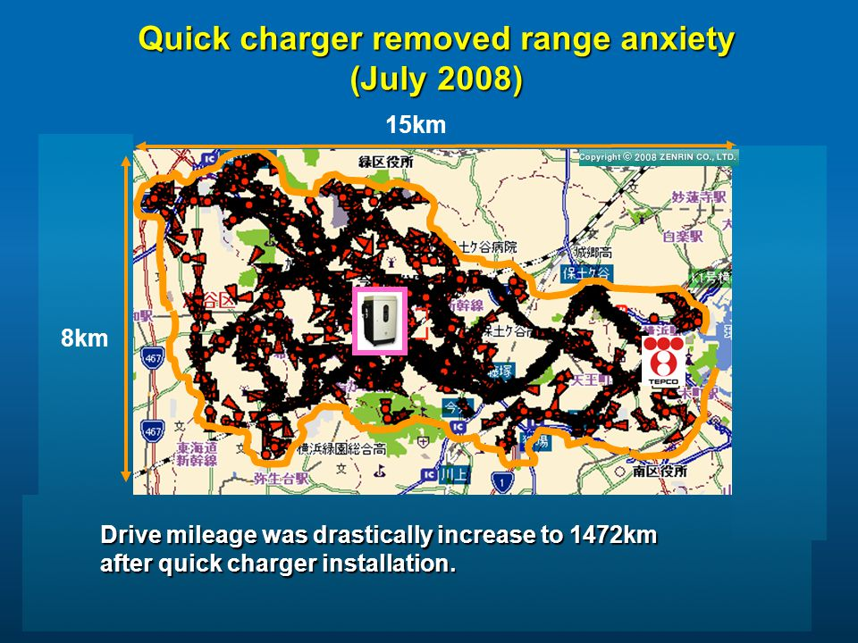 15km 8km Drive mileage was drastically increase to 1472km after quick charger installation.