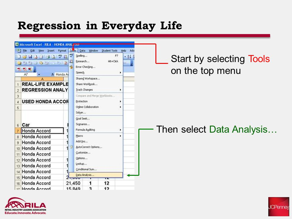 Regression in Everyday Life Start by selecting Tools on the top menu Then select Data Analysis…