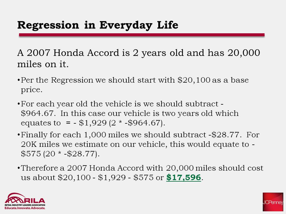 Regression in Everyday Life A 2007 Honda Accord is 2 years old and has 20,000 miles on it.