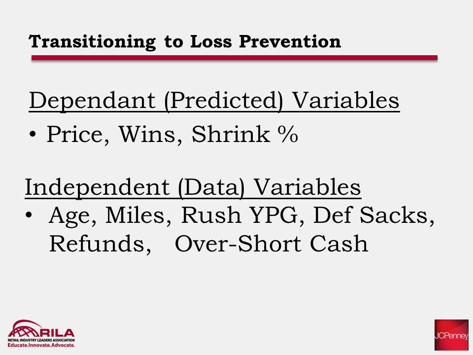 Transitioning to Loss Prevention Dependant (Predicted) Variables Price, Wins, Shrink % Independent (Data) Variables Age, Miles, Rush YPG, Def Sacks, Refunds, Over-Short Cash