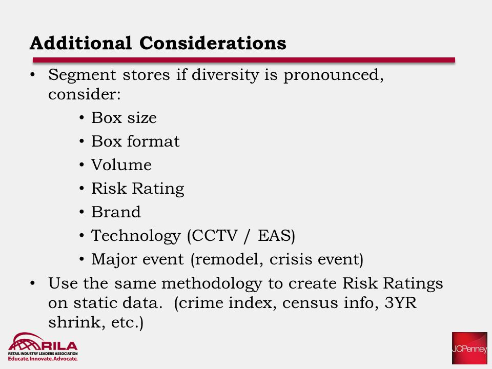 Additional Considerations Segment stores if diversity is pronounced, consider: Box size Box format Volume Risk Rating Brand Technology (CCTV / EAS) Major event (remodel, crisis event) Use the same methodology to create Risk Ratings on static data.
