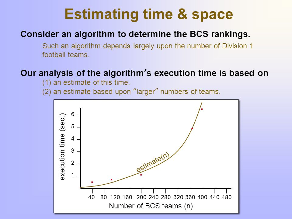 Big-O Approximation Rather than worry about exact execution time, we count...
