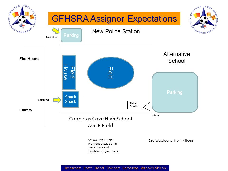 Greater Fort Hood Soccer Referee Association GFHSRA Assignor Expectations Field House Field Copperas Cove High School Ave E Field At Cove Ave E Field: We Meet outside or in Snack Shack and maintain our gear there.