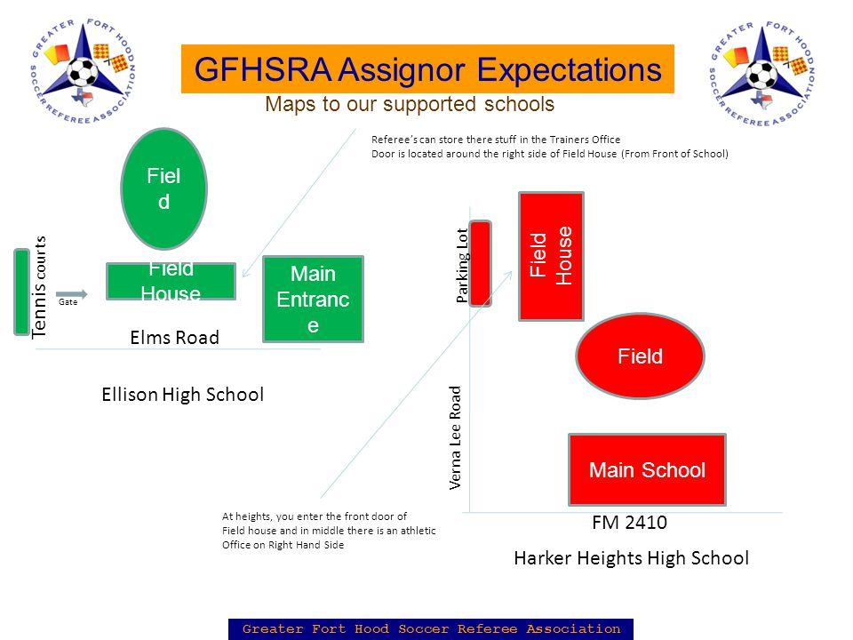 Greater Fort Hood Soccer Referee Association GFHSRA Assignor Expectations Field House Fiel d Elms Road Tennis courts Main Entranc e Ellison High Schoo