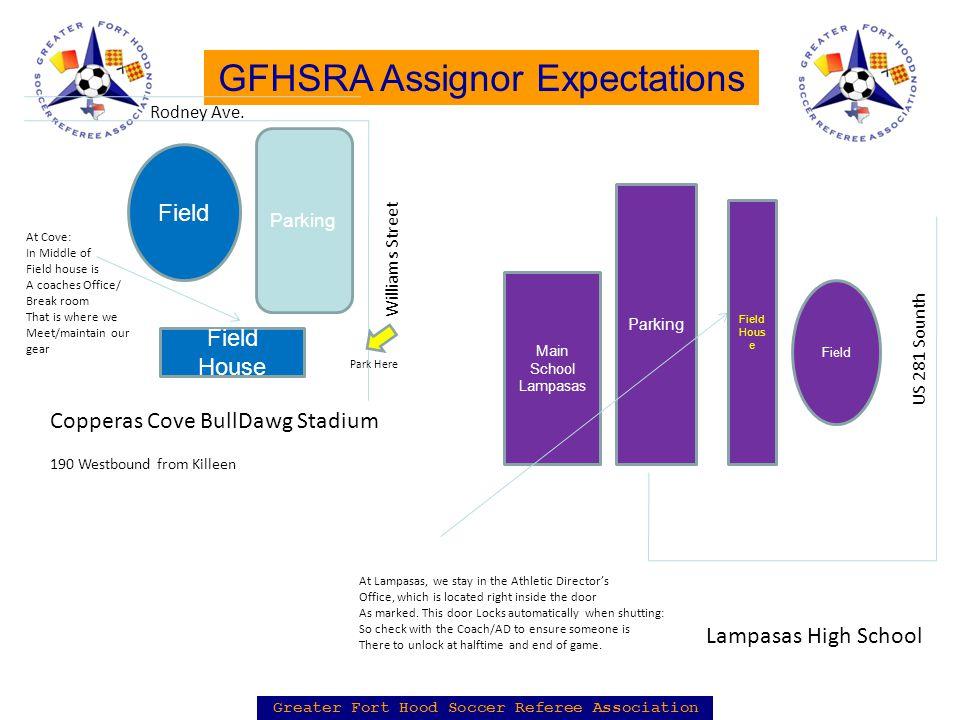Greater Fort Hood Soccer Referee Association GFHSRA Assignor Expectations Field House Field Rodney Ave.