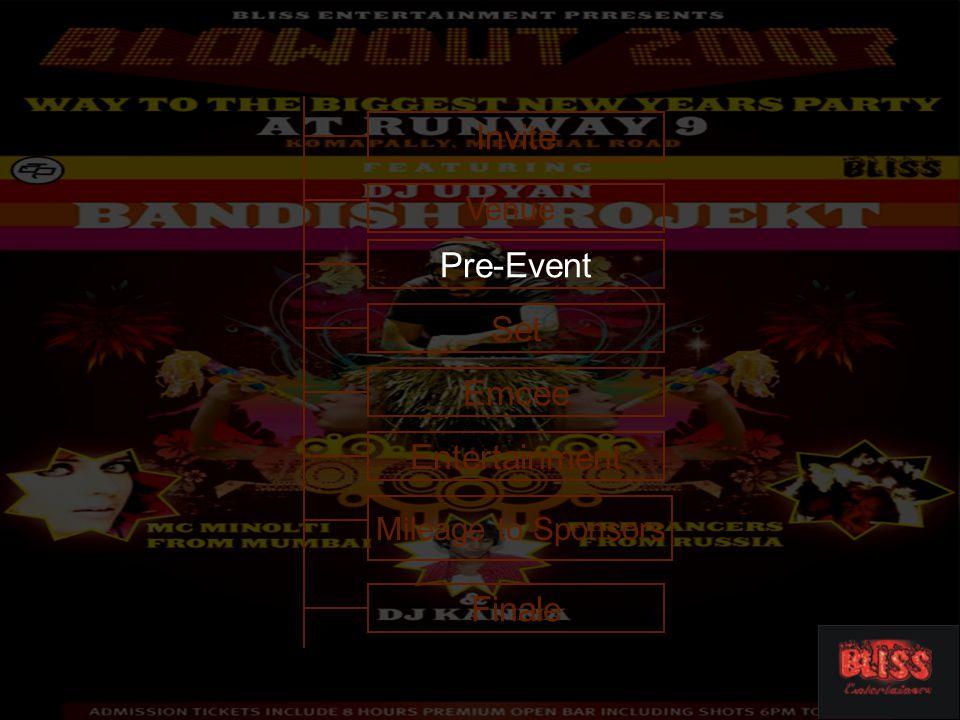 Entertainment Venue Invite Emcee Set Pre-Event Finale Mileage to Sponsors