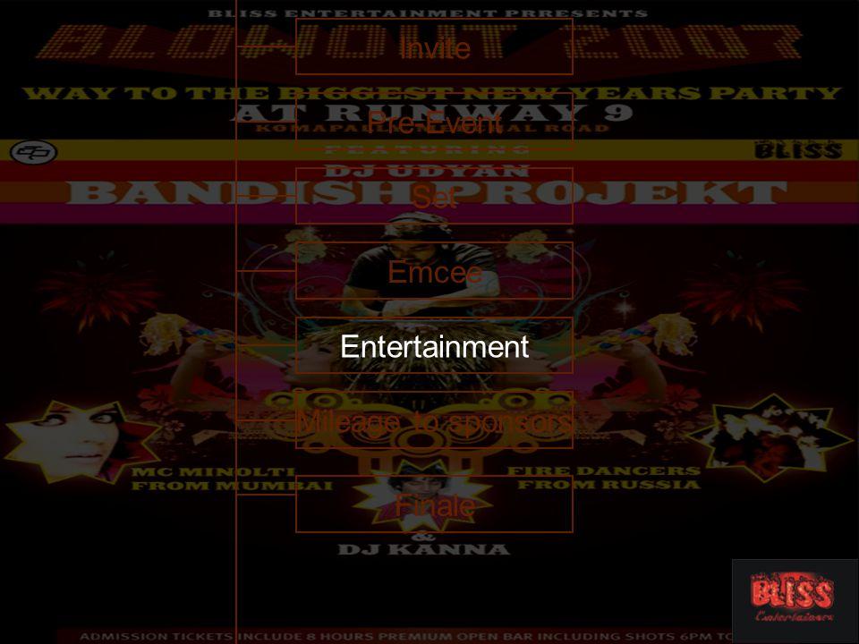 Invite Emcee Entertainment Mileage to sponsors Finale Set Pre-Event