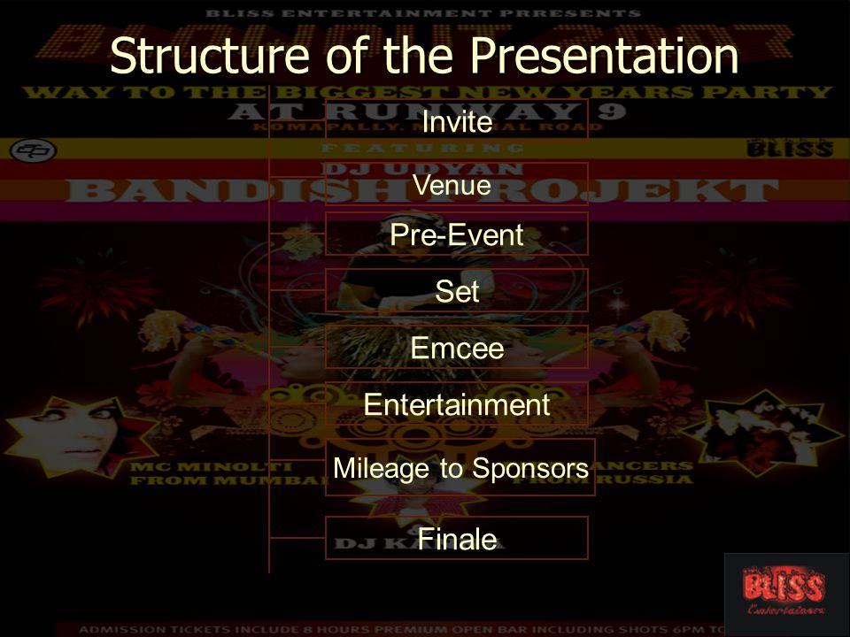 Structure of the Presentation Entertainment Venue Invite Emcee Set Pre-Event Finale Mileage to Sponsors
