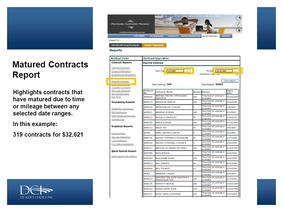 Matured Contracts Report Highlights contracts that have matured due to time or mileage between any selected date ranges.