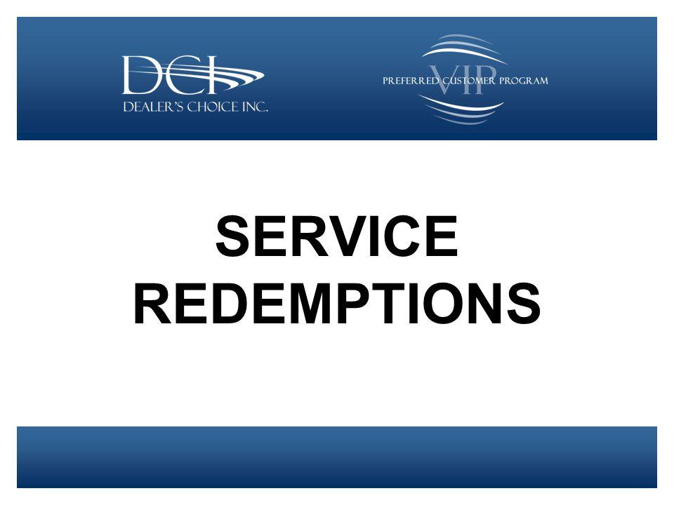 SERVICE REDEMPTIONS