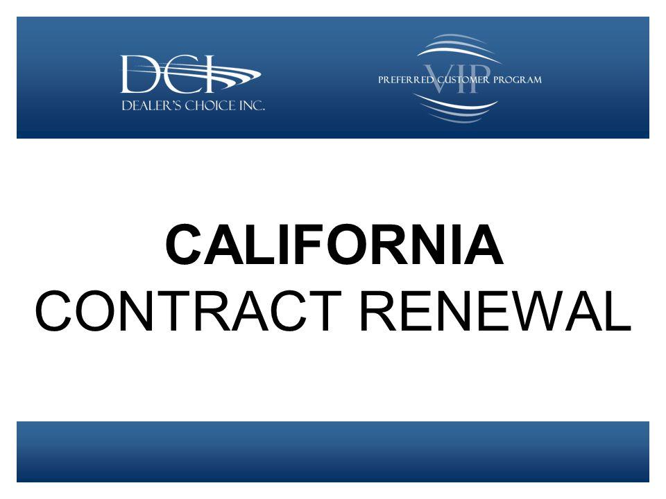 CALIFORNIA CONTRACT RENEWAL