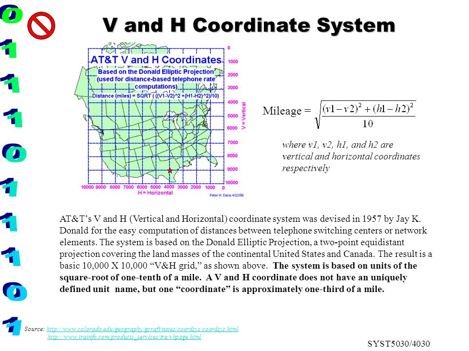 SYST5030/4030 AT&T's V and H (Vertical and Horizontal) coordinate system was devised in 1957 by Jay K. Donald for the easy computation of distances be
