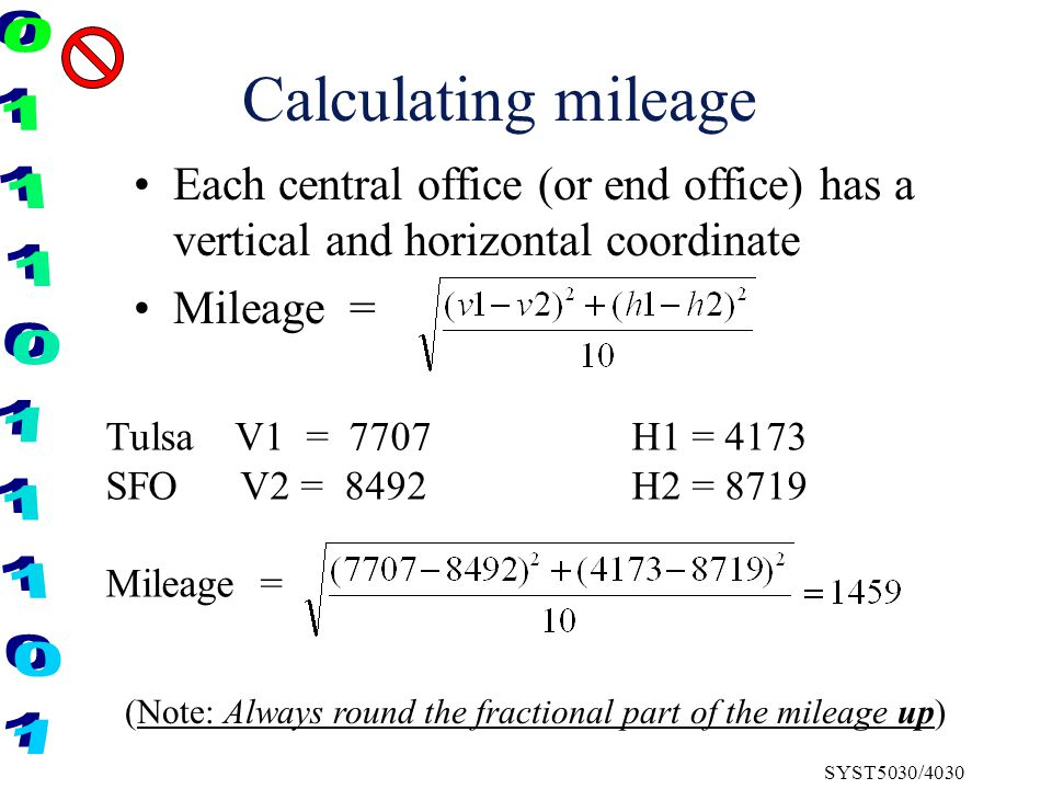 SYST5030/4030 Calculating mileage Each central office (or end office) has a vertical and horizontal coordinate Mileage = Tulsa V1 = 7707H1 = 4173 SFO V2 = 8492H2 = 8719 Mileage = (Note: Always round the fractional part of the mileage up)