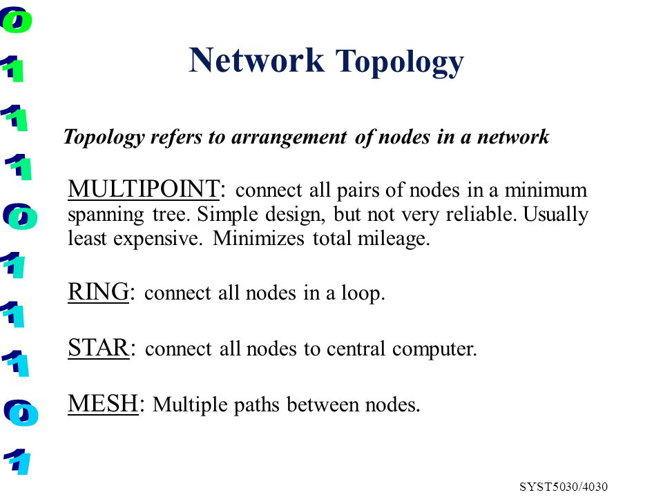 SYST5030/4030 Network Topology MULTIPOINT: connect all pairs of nodes in a minimum spanning tree.